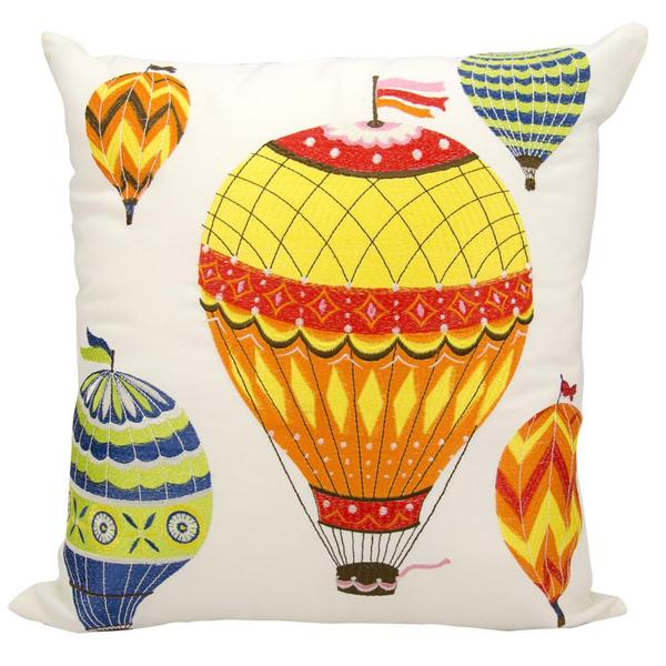 Mina Victory Indoor/Outdoor Hot Air Balloons Multicolor Throw Pillowby Nourison (20-Inch X 20-Inch)