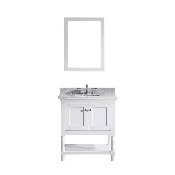 Julianna 32 Inch Single Vanity White Marble Top Mirror