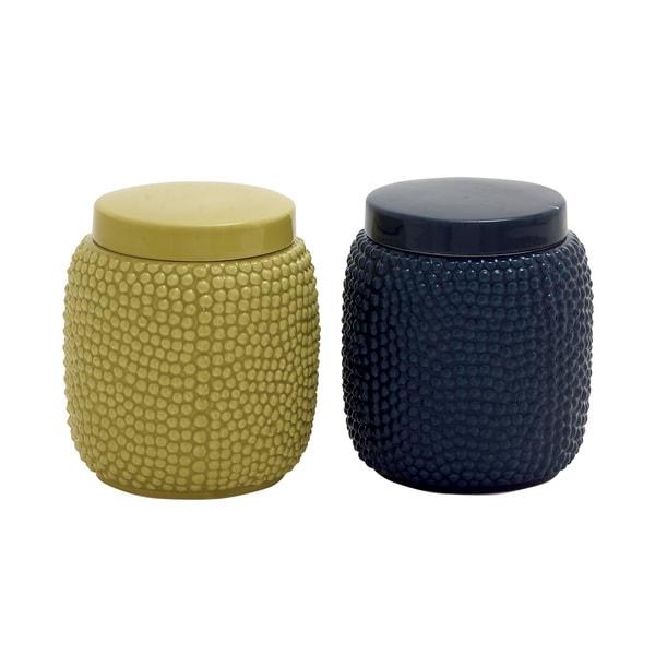 Superior Cool And Colorful Ceramic Jar (Set Of 2)