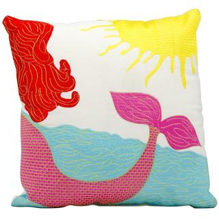 Mina Victory Indoor/Outdoor Mermaid Multicolor Throw Pillow (18-inch x 18-inch) by Nourison