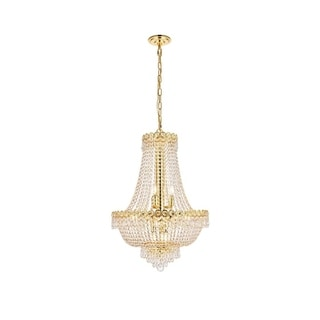 Elegant Lighting Gold 20-inch Royal-cut Crystal Clear Hanging 12-light Chandelier