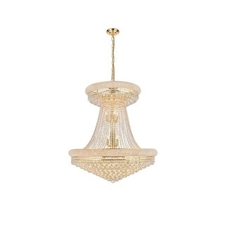 Elegant Lighting Gold Royal-cut 36-inch Crystal Clear Large Hanging Chandelier