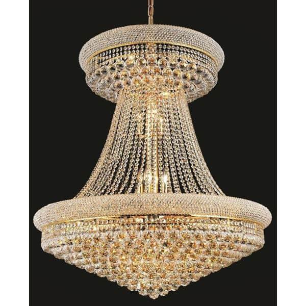 Elegant Lighting Gold Royal Cut 36 Inch Crystal Clear Large Hanging Chandelier
