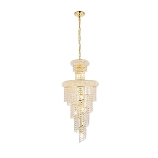 Elegant Lighting Gold 16-inch Royal-cut Crystal Clear Hanging 10-light Chandelier