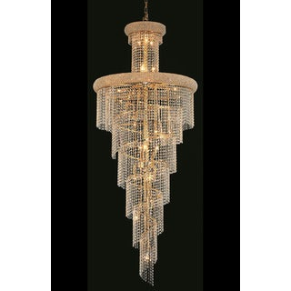 Elegant Lighting Gold Royal-cut Crystal Clear Large 30-inch Hanging Chandelier