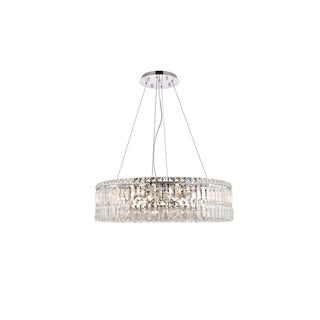 Elegant Lighting Chrome Royal-cut 28-inch Crystal Clear Hanging 12-light Chandelier