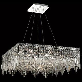 Elegant Lighting Chrome 28-inch Royal-cut Crystal Clear Hanging 12-light Chandelier