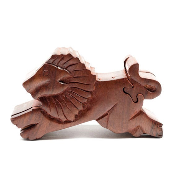 Lion Rosewood Puzzle Box (India)