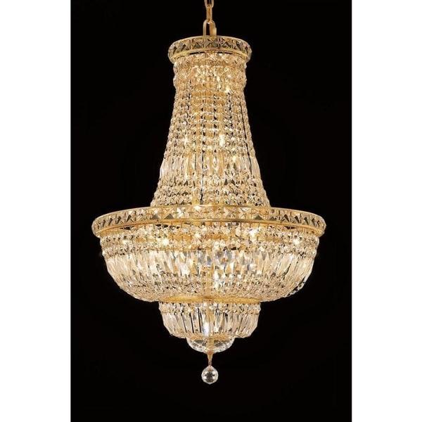 Elegant Lighting Gold 22-inch Royal-cut Crystal Clear Hanging Chandelier