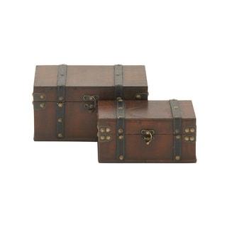 Vintage Appeal Wood Leather Box (Set of 2)