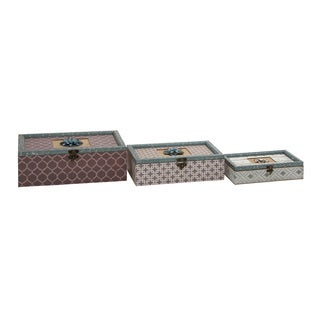 Designer Wood Metal Box (Set of 3)