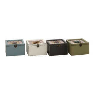 Vintage Wood Metal Box (Set of 4)