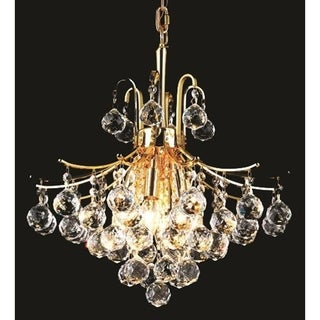 Elegant Lighting Gold 16-inch Royal-cut Crystal Clear Hanging 6-light Chandelier