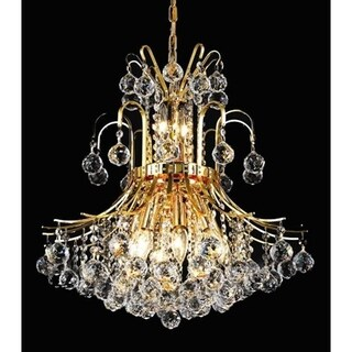 Elegant Lighting Gold 19-inch Royal-cut Crystal Clear Hanging 10-light Chandelier