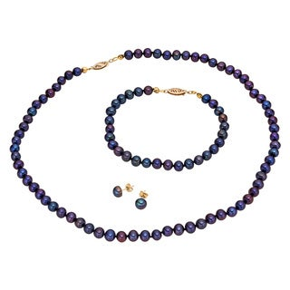 Pearlyta 14k Yellow Gold Black Freshwater Pearl Necklace, Bracelet, and Earring Jewelry Set (5-6 mm)
