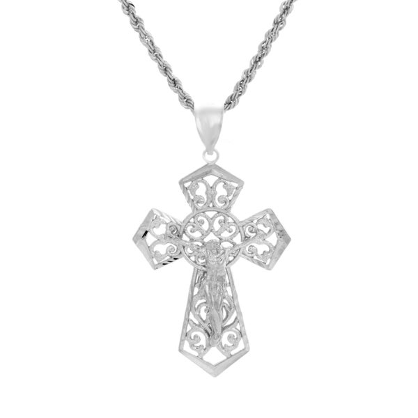 Sterling Essentials Rhodium Plated Silver Crucifix Laser Rope Necklace (3mm)