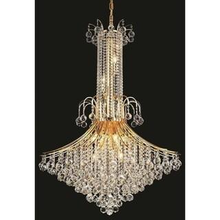 Elegant Lighting Gold 35-inch Royal-cut Crystal Clear Large Hanging 16-light Chandelier