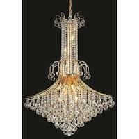 Elegant Lighting Gold 35-inch Royal-cut Crystal Clear Large Hanging 16-light Chandelier