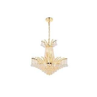 Elegant Lighting Gold 19-inch Royal-cut Crystal Clear Hanging 8-light Chandelier