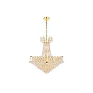 Elegant Lighting Gold 24-inch Royal-cut Crystal Clear Hanging 11-light Chandelier
