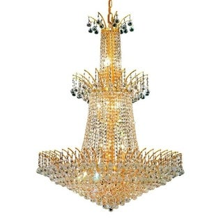 Elegant Lighting Gold 32-inch Royal-cut Crystal Clear Large Hanging 18-light Chandelier