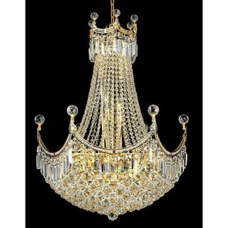 Elegant Lighting Gold 24-inch Royal-cut Crystal Clear Hanging 18-light Chandelier
