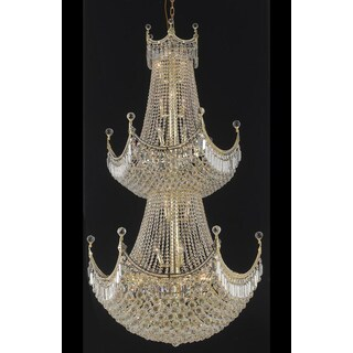 Elegant Lighting Gold Royal-cut Crystal Clear Large 36-inch Hanging Chandelier