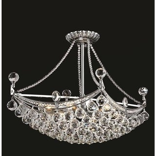 Elegant Lighting Chrome 24-inch Royal-cut Crystal Clear Hanging 6-light Chandelier