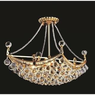 Elegant Lighting Gold 24-inch Royal-cut Crystal Clear Hanging 6-light Chandelier