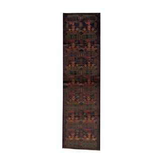 Herat Oriental Afghan Hand-knotted Tribal Balouchi Navy/ Gold Wool Rug (2'6 x 9'4)