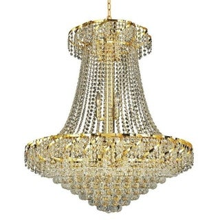 Elegant Lighting Gold 30-inch Royal-cut Crystal Clear Hanging 18-light Chandelier