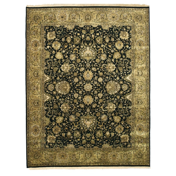 Hand-knotted New Zealand Wool Black Traditional Oriental Tabriz Rug - 7'10 x 10'