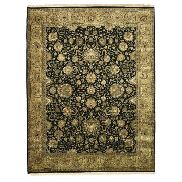 Hand-knotted New Zealand Wool Black Traditional Oriental Tabriz Rug (7'10 x 10') - 7'10 x 10'