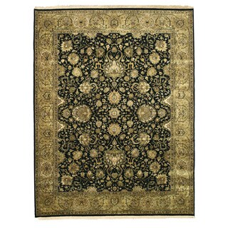 Hand-knotted New Zealand Wool Black Traditional Oriental Tabriz Rug (7'10 x 10') - 7'10 x 10'