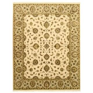 EORC Hand Knotted Wool & Silk Beige Flower Jaipur Rug (7'10 x 10'1)
