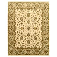 "Hand-knotted Wool & Silk Beige Traditional Oriental Flower Jaipur Rug - 7'10"" x 10'"