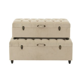 Vintage Styled Wood Fabric Trunk (Set of 2)