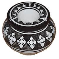 Handmade Black and White Ceramic Ashtray (Morocco)