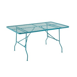 Blue Metal Folding Outdoor Table