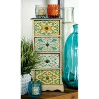 Eclectic 15 Inch Floral 4-Tiered Jewelry Chest by Studio 350