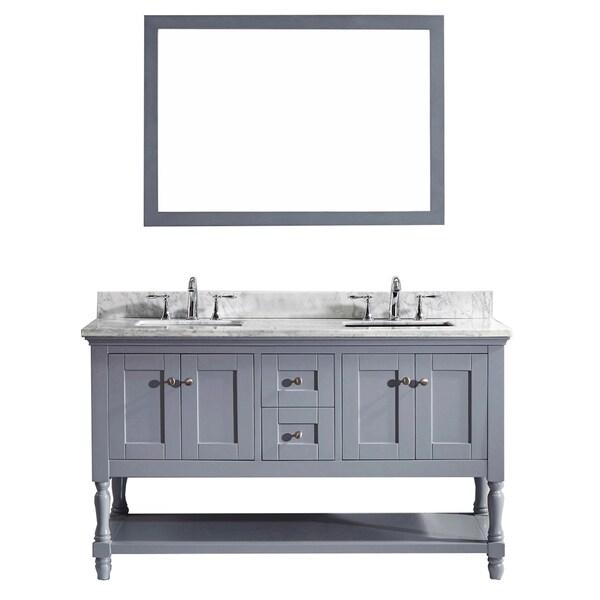 virtu usa julianna 60 inch double bathroom vanity cabinet set in grey
