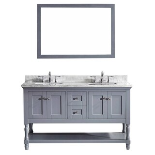 Virtu USA Julianna 60-inch Double Bathroom Vanity Cabinet Set in Grey