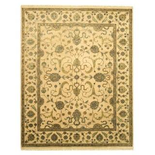 EORC Hand Knotted Wool & Silk Beige Flower Jaipur Rug (8' x 10'1)