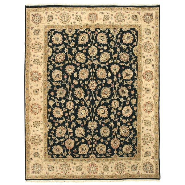 Hand-knotted Wool Black Traditional Oriental Romance Rug - 8' x10'