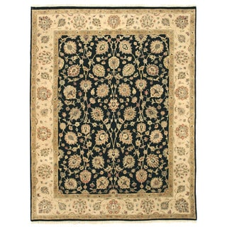 EORC Hand Knotted Wool Black Romance Rug (7'9 x 10'1)