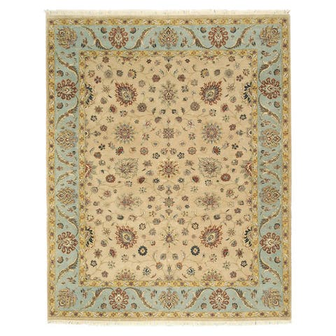 """Hand-knotted Wool Beige Traditional Oriental Romance Rug - 7'10"""" x 9'9"""""""