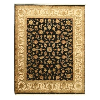 Hand-knotted Wool & Silk Black Traditional Oriental Flower Jaipur Rug (8' x 10')