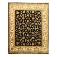 Hand-knotted Wool & Silk Black Traditional Oriental Flower Jaipur Rug (8' x 10')