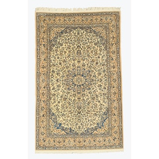EORC Hand Knotted Wool & Silk Ivory Naiin Rug (5'6 x 8'9)