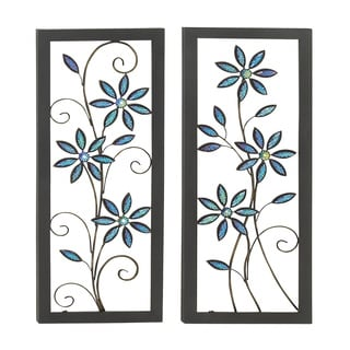 Contemporary Styled Metal LED Wall Plaque  (Set of 2)